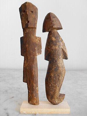 2 Statuettes Fetishes Aklama Adan Ada Ewe 21cm +22cm Art Tribale Primitive