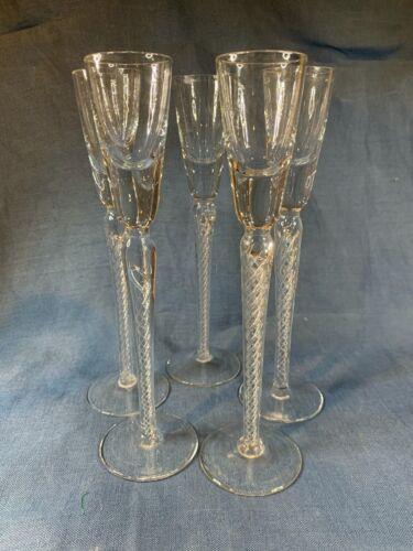 "5 air twist stem Tiffany & Co Crystal Cordial aperitif Flutes Glasses 9"" c783"