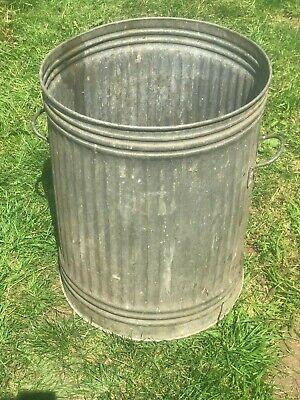 Vintage galvanised metal bin + handles - retro container industrial planter