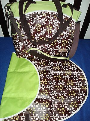 Diaper Bag with changing pad green and brown  and other baby items  LA