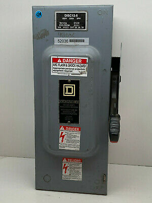 Square D H363 100-amp 600vac Safety Switch Type 1 Indoor Enclosure 100a 600v