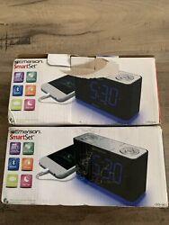 2pc EMERSON CKS1507 SmartSet Dual Alarm Clock Radio Bluetooth Speaker USB Charge
