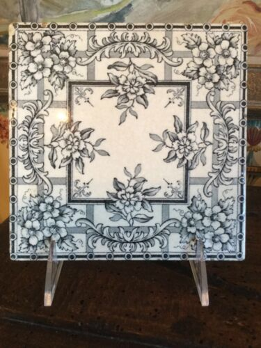 English Tile Transferware Victorian Blue/Gray & White