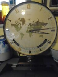 FINE QUALITY MIDCENTURY BRASS KIENZLE WORLD TIME ZONE DESK MANTEL CLOCK ORIGINAL