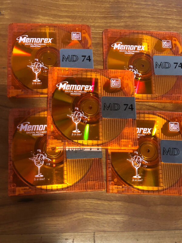 5 - Orange Memorex MD 74  Color Collection 74 minute Minidiscs.