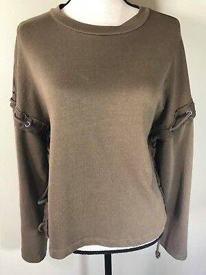 Zara Trafaluc Womens Knit Top Size Small Oversized Laced Sides Sleeves Brown