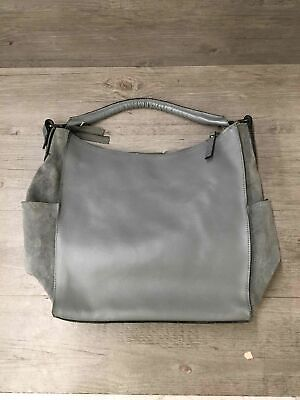 Innue Large Grey Leather Hand Bag Made In Italy