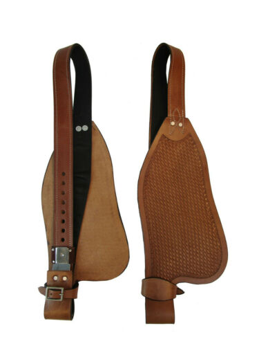 SADDLE FENDERS WESTERN HORSE REPLACEMENT TACK BASKET WEAVE TOOLED BARREL TRAIL