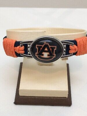 Auburn Tigers Charm Bracelet Leather NCAA Final Four Basketball Football Vintage