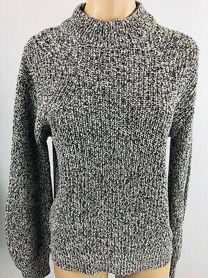 H & M Cotton Acrylic Mock Turtleneck Sweater Marled BLACK WHITE Size Small