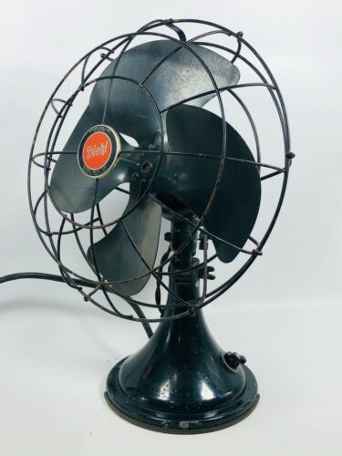 "Vintage 12"" DIEHL Black Oscillating 3 Speed Electric Tilt Head Fan Works Well"