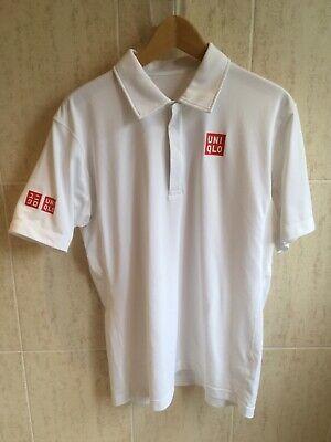 "RARE early UNIQLO white polo tennis shirt M Medium 21"" pit to pit"