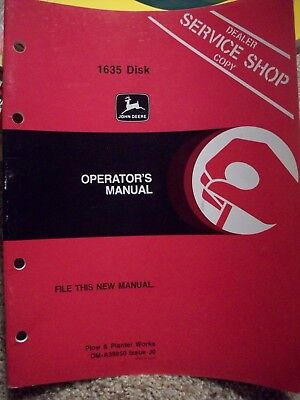 John Deere 1635 Disk Operator's Manual Dealer Service Shop Copy OM-A39850