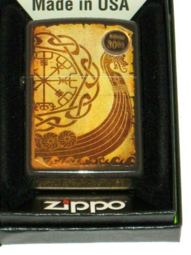 A New ZIPPO Windproof oil Flame Lighter 49182 Viking War Ship Design Brown Case