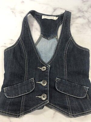 - Cherry Girls M Blue Denim Sleeveless Short Vest Jacket Top Layer Dark Wash