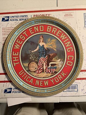 Vintage WEST END BREWING CO. UTICA NY . Metal Beer Tray. Made In Mansfield Eng.