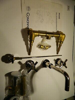 CONCINNITY 140-3C PNI Malmo Wall Mount Bathroom Lavatory Faucet SATIN NICKEL ()