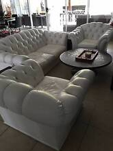 Chesterfield 2 Seater White Leather Lounge Suite Moran Club Calamvale Brisbane South West Preview