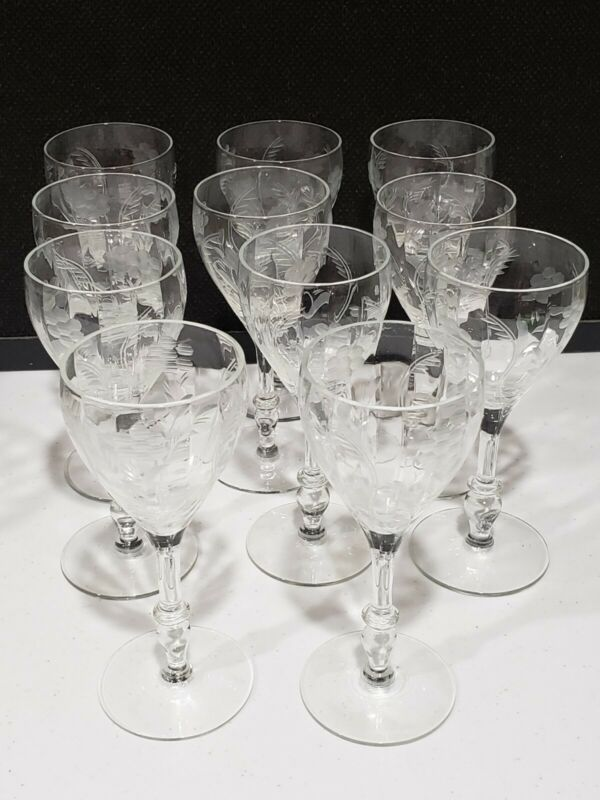 11- Vintage Wheel Cut Flowers WINE Glasses Etched Cocktail Stemware Barware