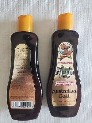 Pair of Australian Gold Dark Tanning Lotion Accelerator Bronzer * New *
