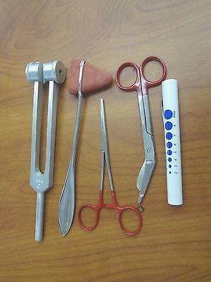 5 Piece Red Medical Kit - Diagnostic Emt Nursing Surgical Ems Student Paramedic