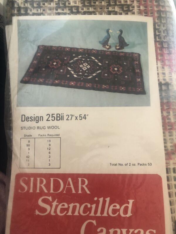Sirdar Stencilled Latch Hook Rug Canvas 27 x 54 Design 25Bii Vintage