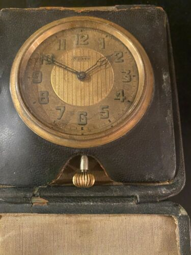 Vintage Octava 8 Day Travel Watch, Clock With Leather Case