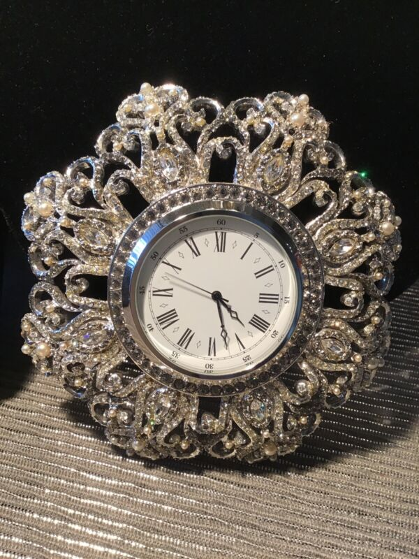 Jay Strongwater Clock Roman Numerals And Pearls