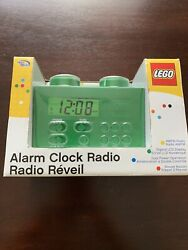 Kid's GREEN LEGO ALARM CLOCK Radio Child's Room Building Brick Blocks Toys