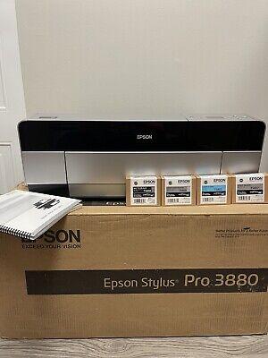 Epson Stylus Pro 3880 Printer 17 Large Format With New Inks Original Box Manual