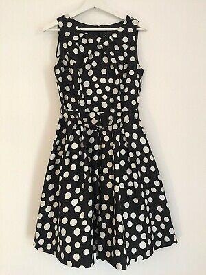 JESSICA HOWARD, UK size 8, polkadot, belt, sleeveless, fit & flare dress. black