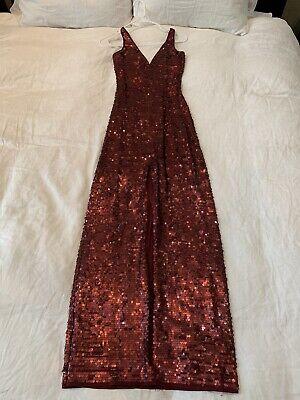 bcbg maxazria dress Size XXS Burgundy Sequin Gown Floor Lenth Slit Low Back