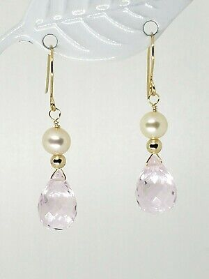 14k Yellow Gold Clear Rose Quartz Briolette and White Pearl Drop Dangle Earrings