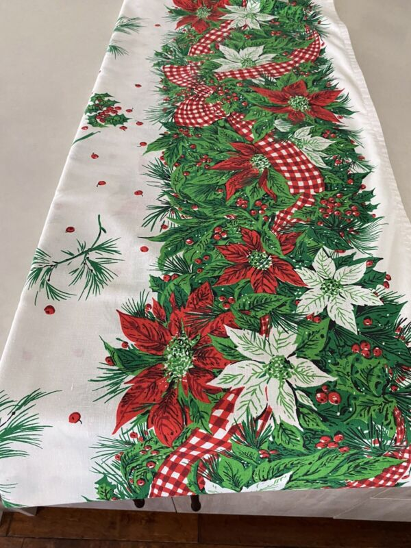 Christmas/Holiday Tablecloth- Cotton blend- 70 X 84- Pre Owned