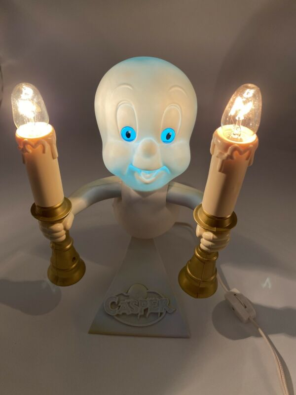 1996 Trendmasters Casper Ghost Candelabra Light Flame Flicker Halloween Scary