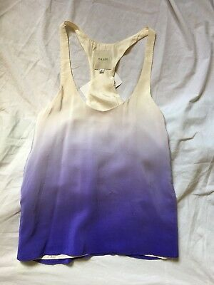 Michelle Mason Blouse - Michelle MASON Ivory Purple Blue Silk Ombre Racer Back Tank Top Blouse SZ 6