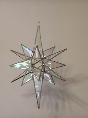 STAINED GLASS MORAVIAN STAR SUNCATCHER GIFT, 16 POINT