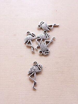 5 x Flamingo Anhänger * Vogel * Schmuckzubehör Basteln Deko Charms Silber