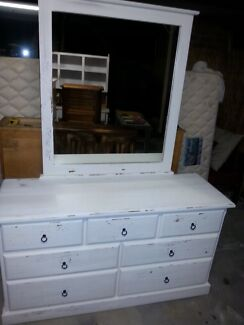 Restored white shabby bedroom drawer set Nerang Gold Coast West Preview