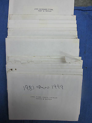 JOHNSON EVINRUDE OUTBOARD MOTOR PARTS MICROFICHE CARDS 776602 1981-1999 YEARS ()
