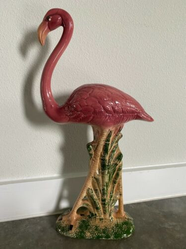 Large Ceramic Flamingo Figurine Statue stands 17""