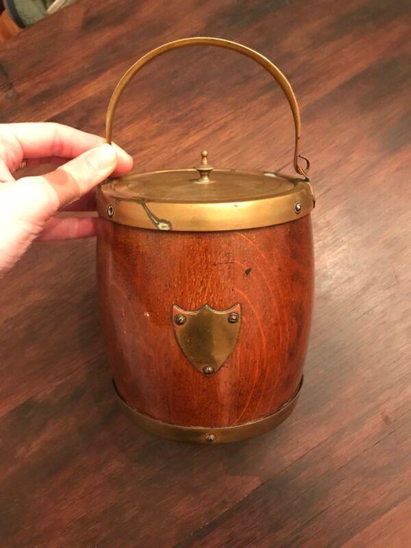 Antique Vintage English Oak Brass Porcelain Biscuit Barrel Ice Bucket