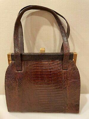 1950s Handbags, Purses, and Evening Bag Styles Vintage 1950's Genuine Croc/Alligator KELLY Handbag / Real Leather Interior  $39.99 AT vintagedancer.com