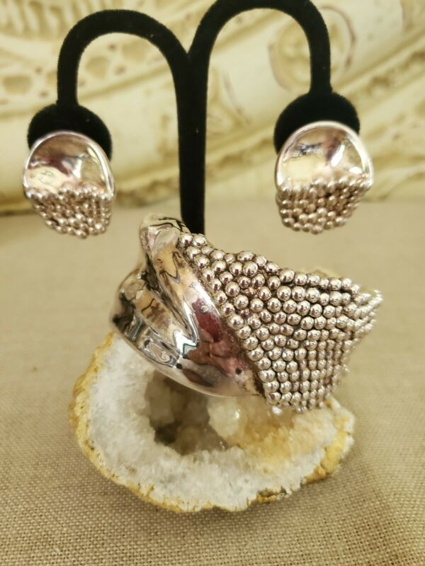 VTG Bat Ami Sterling Silver Electroform Modernist Cuff Bracelet And Earrings