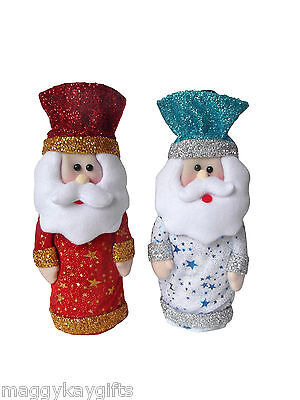 2 PACK Novelty Santa Christmas Bottle, Gift Bags, Red & Blue, Sparkly