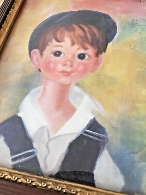 FREE FRAME 'FRANCOISE SOULET' Print 'Blue Eyed Boy in Hat' Lowest Price VINTAGE](Lowest Price Print)