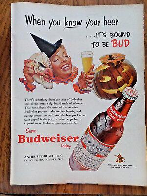 Halloween Themed Beer (1953 Budweiser Beer Ad  Halloween Pumpkin)