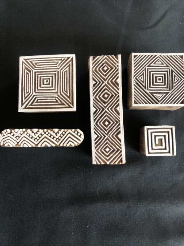 (Set of 5) Geometric Shapes, Chevron style Wooden Stamps for Printing