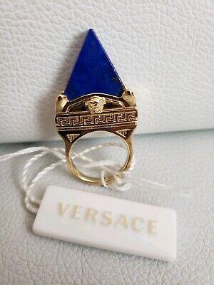 Versace Men's Women's Gold Medusa Greek key Stone Lapis Lazuli Ring US 8.5