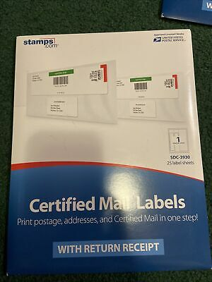 Certified Mail Labels Stamps.com 25 Label Sheets Per Pack